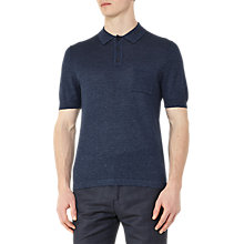 Buy Reiss Gordon Wool and Linen Polo Shirt, Indigo Online at johnlewis.com