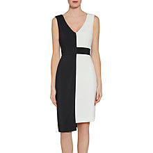 Buy Gina Bacconi Contrast Panel Moss Crepe Dress, Black/Chalk Online at johnlewis.com