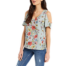 Buy Oasis Floral Print Cold Shoulder Top, Multi Online at johnlewis.com
