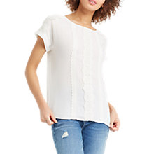 Buy Oasis Trim Textured T-Shirt, Off White Online at johnlewis.com