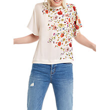 Buy Oasis Floral Tie Back Top, Off White Online at johnlewis.com