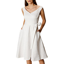 Buy Karen Millen Summer Silk Trim Jacquard Dress, White Online at johnlewis.com