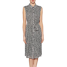 Buy Gina Bacconi Itsy Metallic Chiffon Shirt Dress, Black/White Online at johnlewis.com