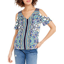 Buy Oasis Scarf Cold Shoulder Top, Multi/Natural Online at johnlewis.com