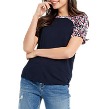 Buy Oasis Patch Chintz Floral T-Shirt, Navy Online at johnlewis.com