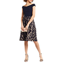 Buy Oasis Bardot Organza Dress, Blue/Multi Online at johnlewis.com