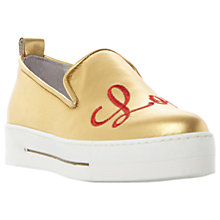 Buy Dune Elsey Applique Trainers, Gold Online at johnlewis.com