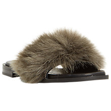 Buy Dune Black Lorel Faux Fur Slider Sandals, Grey Online at johnlewis.com