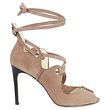Buy Karen Millen Ghillie Eyelet Peep Toe Sandals, Taupe Online at johnlewis.com