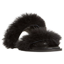 Buy Dune Black Luisa Fluffy Double Strap Sandals, Black Online at johnlewis.com