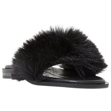 Buy Dune Black Lorel Faux Fur Slider Sandals Online at johnlewis.com