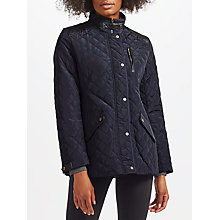 Buy Lauren Ralph Lauren Faux Leather Trim Quilted Coat, Dark Navy Online at johnlewis.com