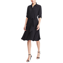 Buy Lauren Ralph Lauren Fit And Flare Shirt Dress, Polo Black Online at johnlewis.com