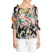 Buy Lauren Ralph Lauren Off The Shoulder Floral Print Blouse, Black Multi Online at johnlewis.com