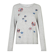 Buy Gerry Weber Long Sleeve Embroidered Jumper, Silver Light Melange Online at johnlewis.com