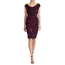 Buy Lauren Ralph Lauren Cowl Neck Printed Stretch Jersey Dress, Berry/Black Online at johnlewis.com