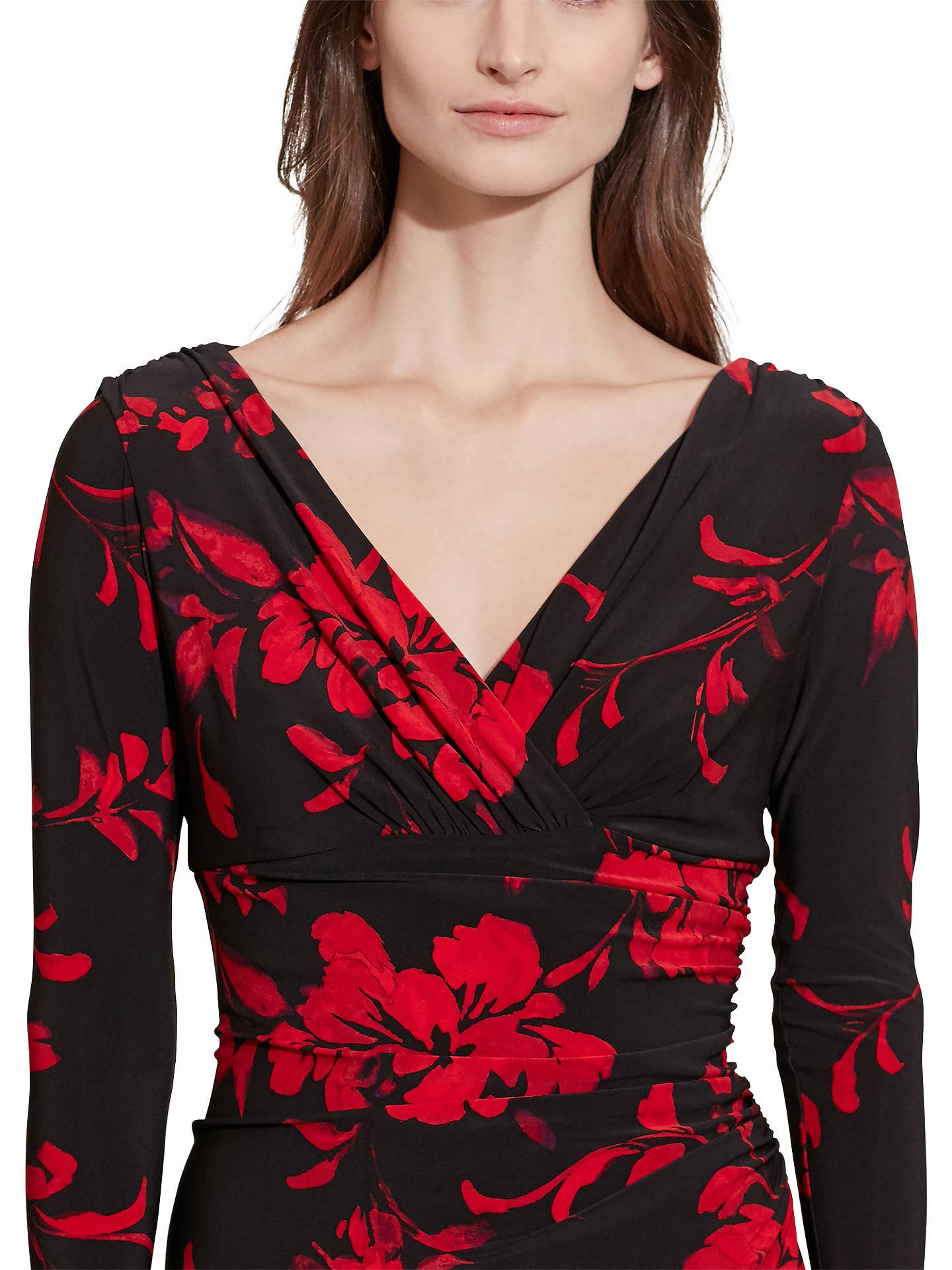 dirt cheap pretty nice cheaper Lauren Ralph Lauren Floral Print Wrap Dress, Black/Red at John ...