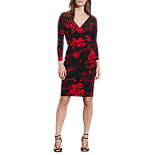 Buy Lauren Ralph Lauren Floral Print Wrap Dress, Black/Red Online at johnlewis.com