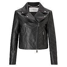 Buy Marella Pablo Studded Leather Jacket, Black Online at johnlewis.com