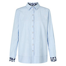 Buy Gerry Weber Contrast Trim Shirt, Bleu Vichy Online at johnlewis.com
