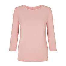 Buy Gerry Weber 3/4 Sleeve Frill Trim Jersey Top, Blush Online at johnlewis.com