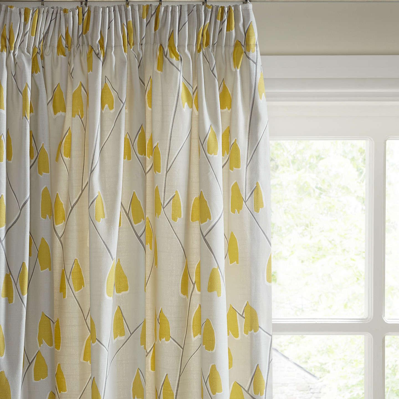 John Lewis Lotta Pair Lined Pencil Pleat Curtains, Grey / Citrine by John Lewis