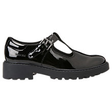 Buy Geox Children's Casey T-Bar School Shoes, Patent Black Online at johnlewis.com