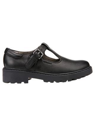 Geox Children's Casey T-Bar School Shoes, Black