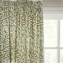 Buy Morris & Co Willow Bough Lined Pencil Pleat Curtains, Green Online at johnlewis.com