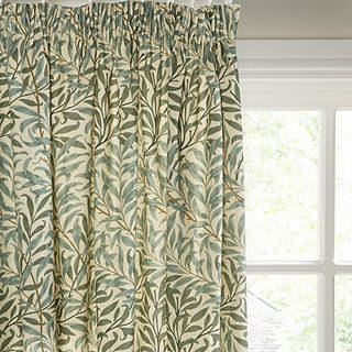 Morris Co Willow Bough Pair Lined Pencil Pleat Curtains Green