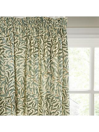 Morris & Co. Willow Bough Pair Lined Pencil Pleat Curtains, Green