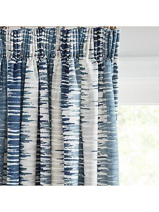 John Lewis & Partners Ikat Pair Lined Pencil Pleat Curtains, Blue