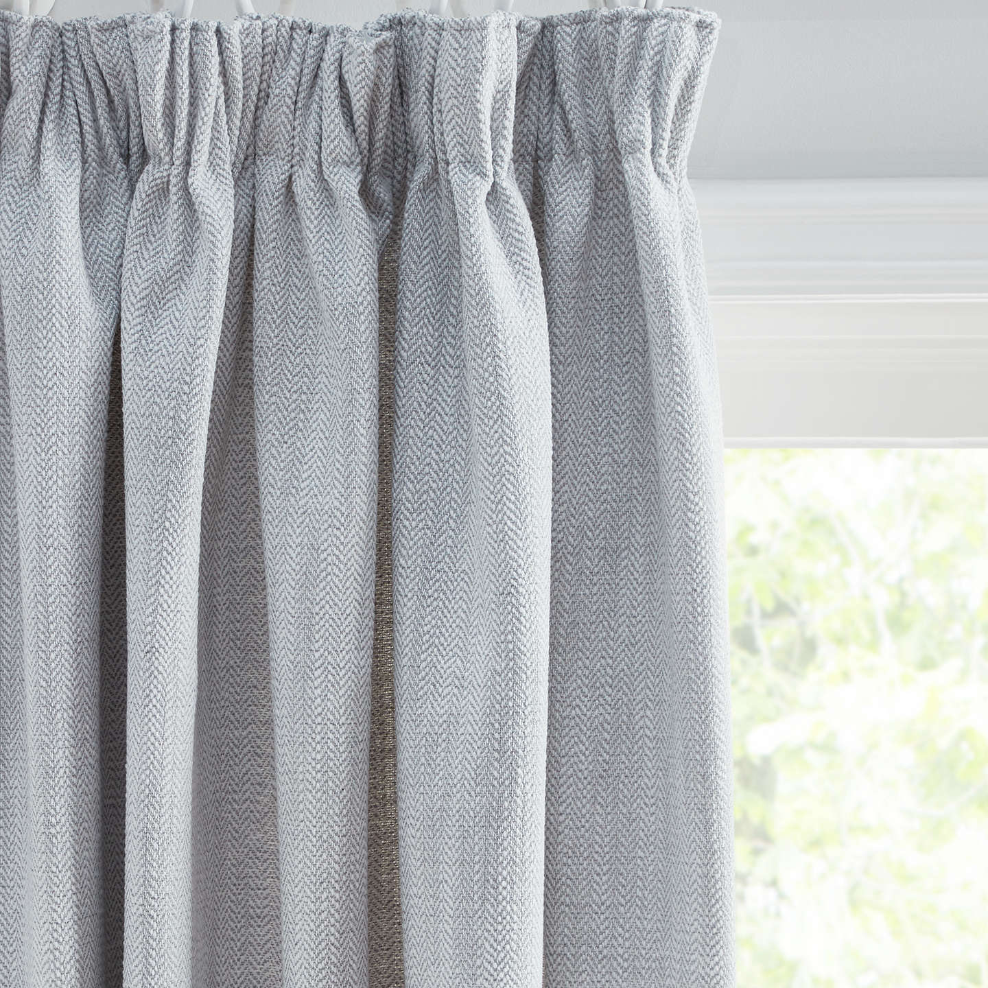 Croft Collection Lachlan Pair Lined Pencil Pleat Curtains, Blue Grey by Croft Collection