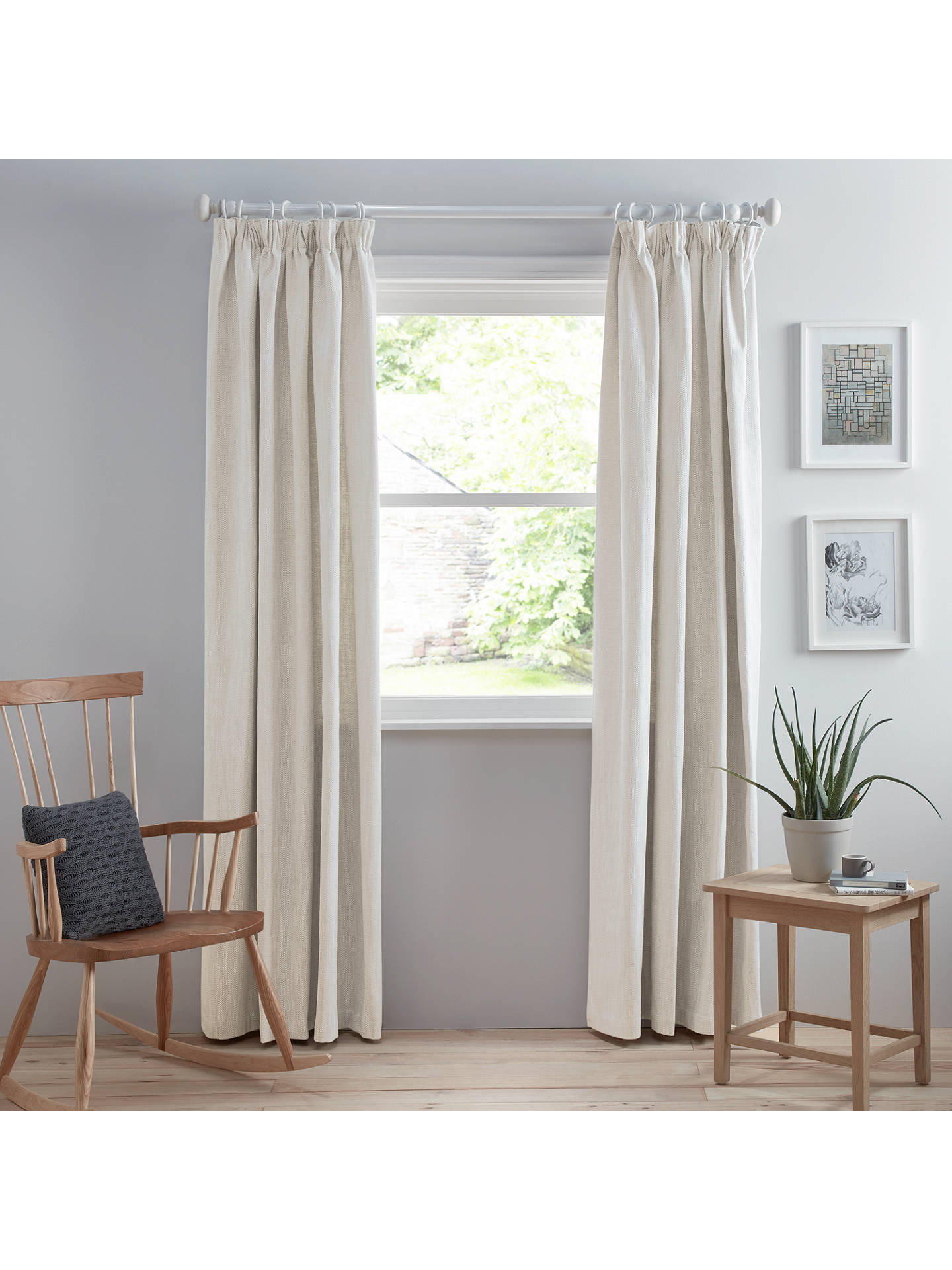 Buy Croft Collection Lachlan Pair Lined Pencil Pleat Curtains, Putty, W167 x Drop 137cm Online at johnlewis.com