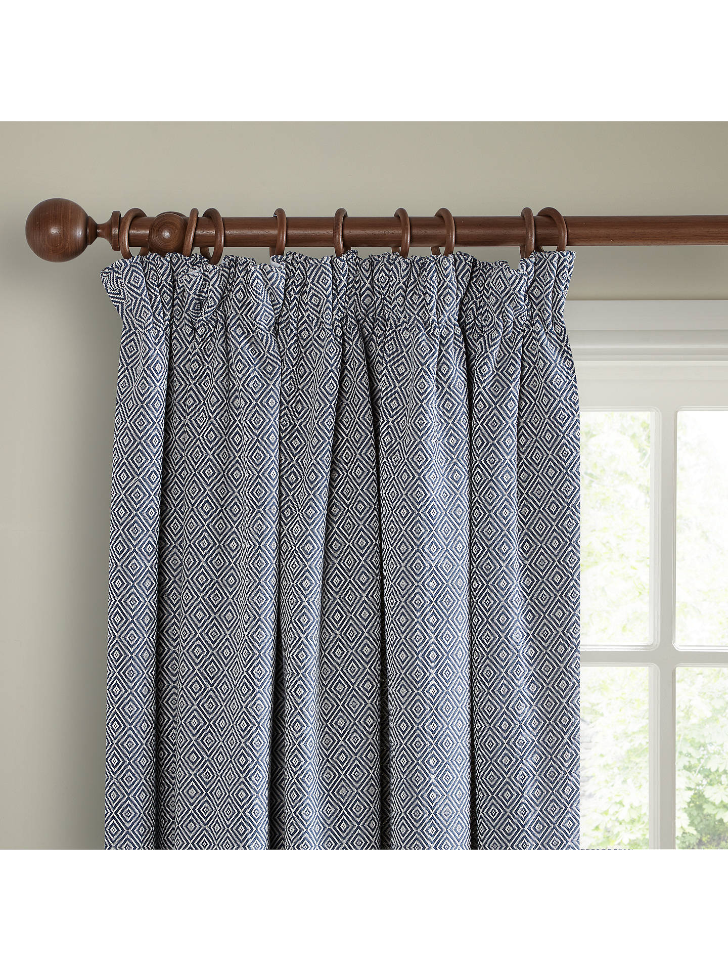 Buy John Lewis & Partners Mara Diamond Pair Lined Pencil Pleat Curtains, Indian Blue, W167 x Drop 137cm Online at johnlewis.com