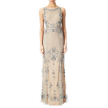 Buy Adrianna Papell Beaded Mermaid Gown, Silver/Nude Online at johnlewis.com