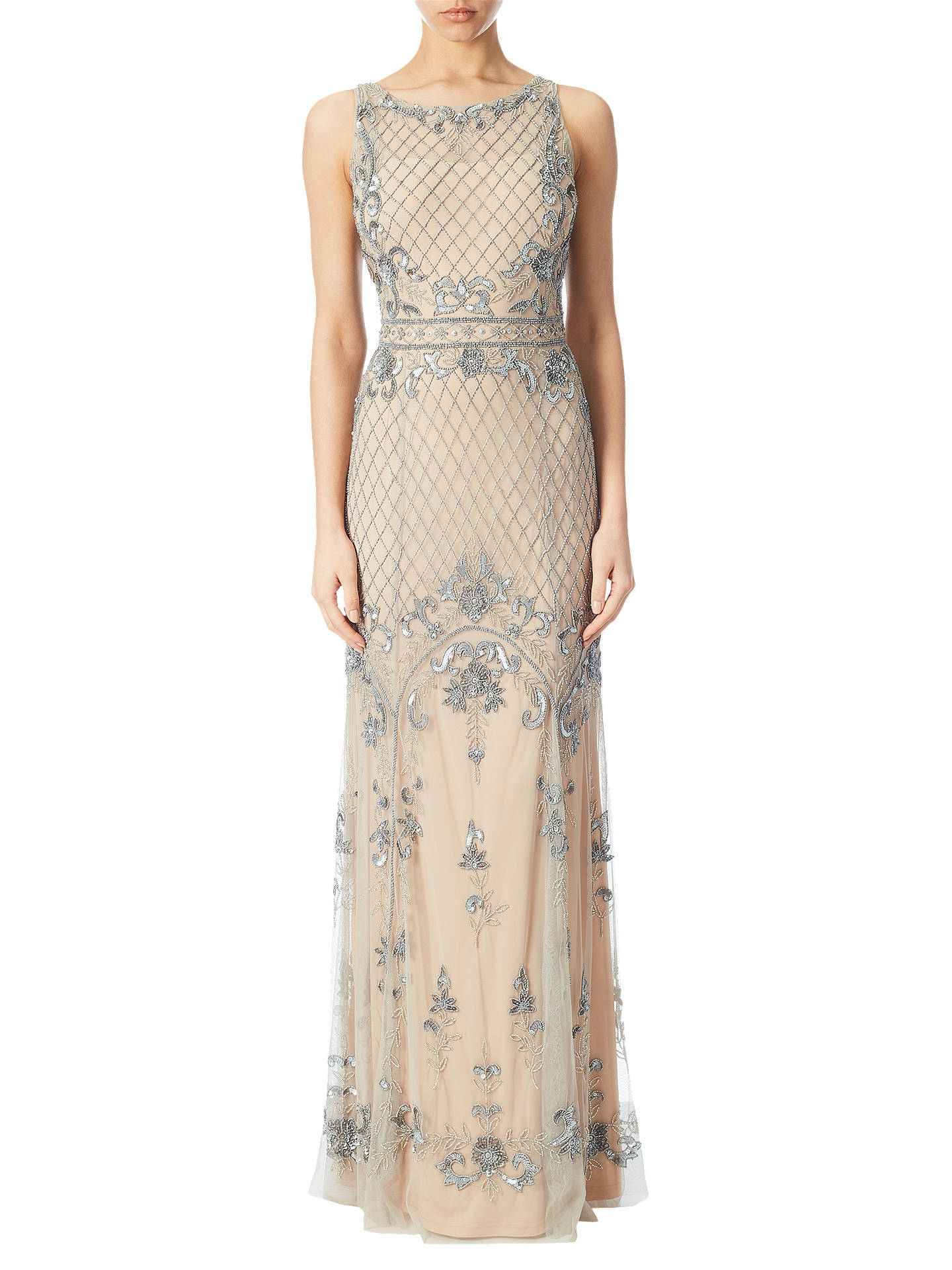 cc585bafb9558 Buy Adrianna Papell Beaded Mermaid Gown, Silver/Nude, 6 Online at johnlewis.