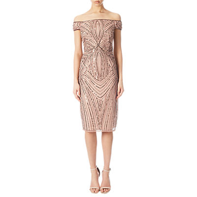 Vintage Inspired Cocktail Dresses, Party Dresses Adrianna Papell Off Shoulder Beaded Cocktail Dress Rose Gold £170.00 AT vintagedancer.com