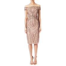Buy Adrianna Papell Off Shoulder Beaded Cocktail Dress, Rose Gold Online at johnlewis.com
