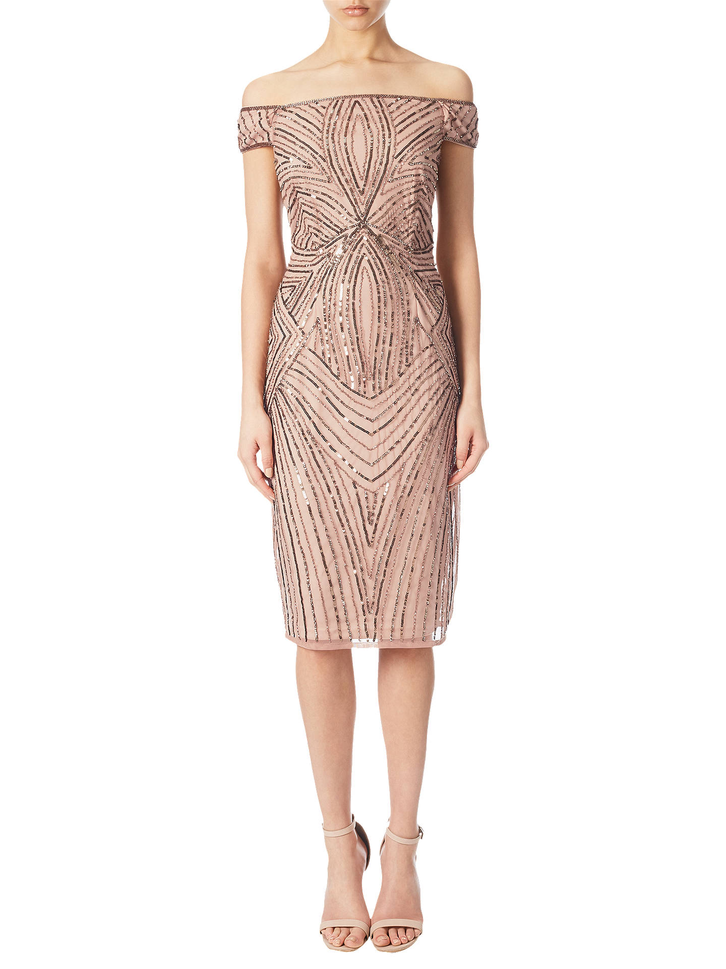 97216386db8 Buy Adrianna Papell Off Shoulder Beaded Cocktail Dress, Rose Gold, 8 Online  at johnlewis ...