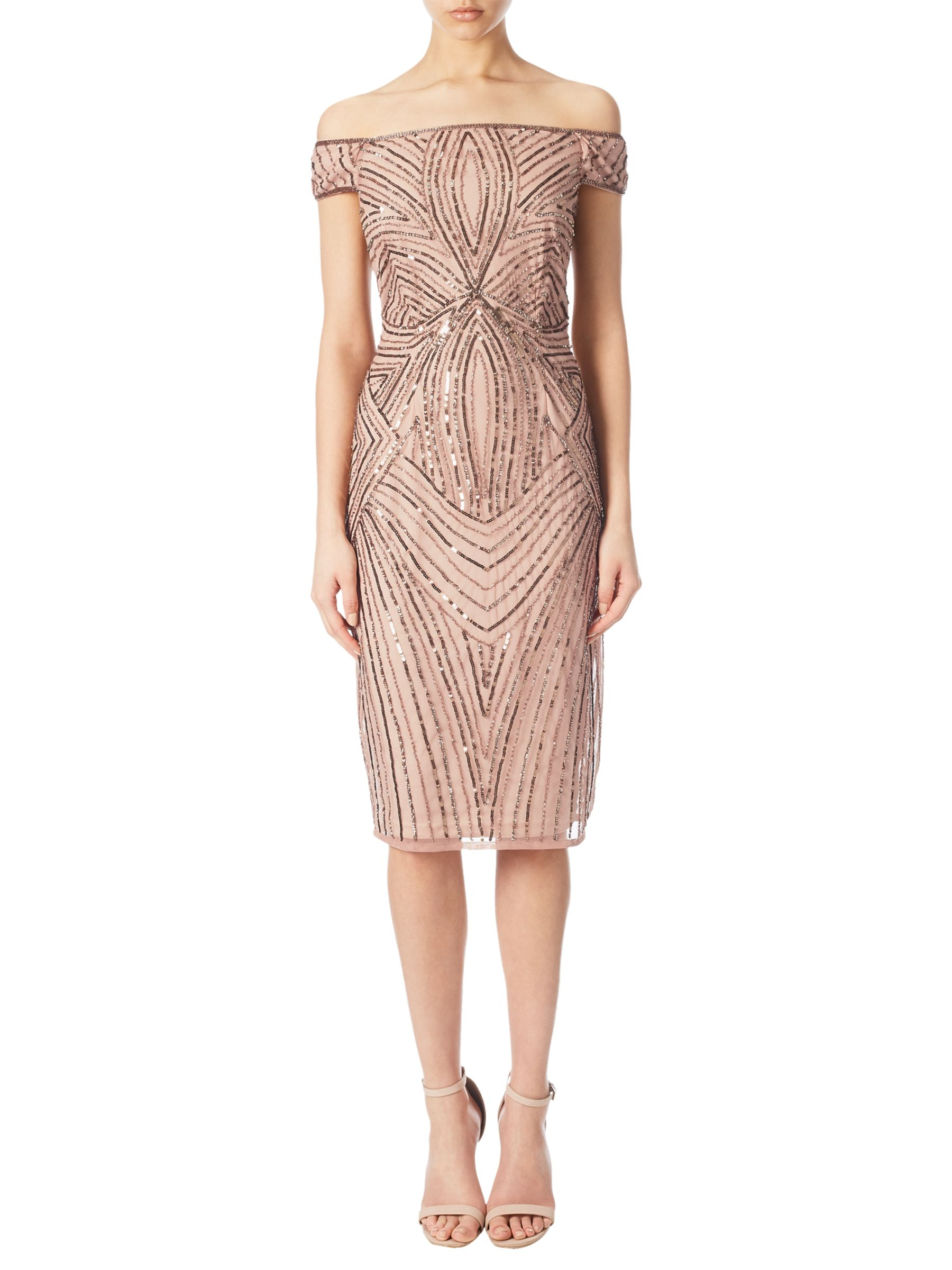 Fun 1920s Flapper Dresses & Quality Flapper Costumes Adrianna Papell Off Shoulder Beaded Cocktail Dress Rose Gold £170.00 AT vintagedancer.com