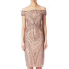 Buy Adrianna Papell Petite Off Shoulder Beaded Cocktail Dress, Rose Gold Online at johnlewis.com