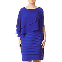 Buy Adrianna Papell Plus Size Rosette Banded Capelet Dress, Cobalt Blue Online at johnlewis.com