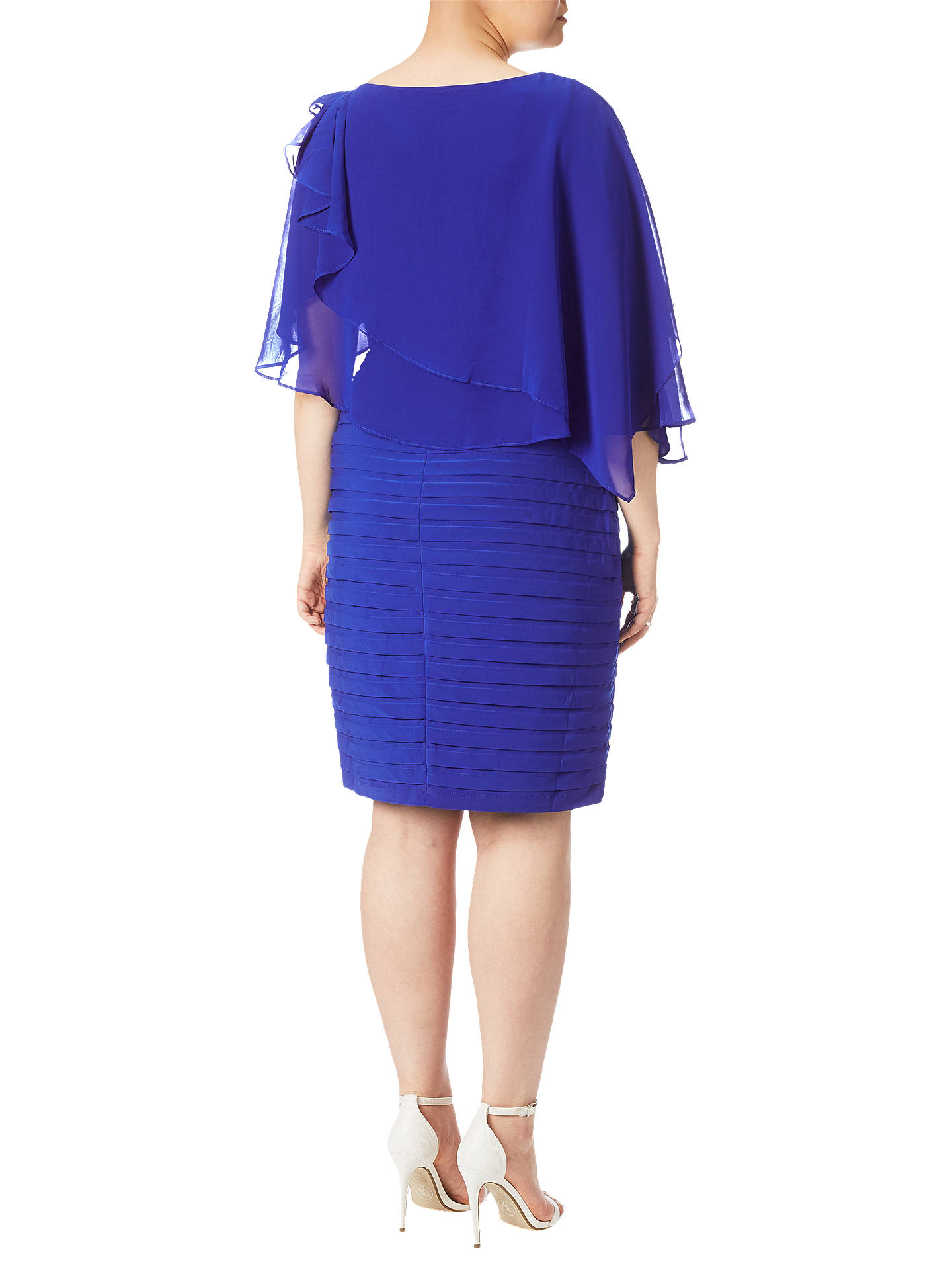 BuyAdrianna Papell Plus Size Rosette Banded Capelet Dress, Cobalt Blue, 18 Online at johnlewis.com