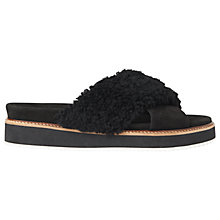 Buy Whistles Alie Shearling Slider Sandals, Black Online at johnlewis.com