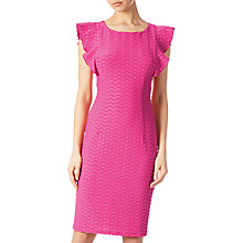 Buy Adrianna Papell Wavy Ottoman Shift Dress, Fiesta Pink Online at johnlewis.com