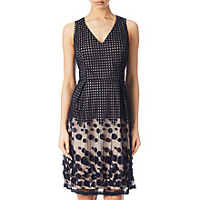 Buy Adrianna Papell Pleated Plaid Dot Fit And Flare Dress, Navy/Pink Online at johnlewis.com