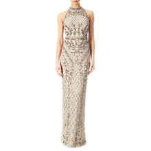 Buy Adrianna Papell Halterneck Beaded Gown, Biscotti Online at johnlewis.com