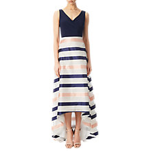 Buy Adrianna Papell Jersey Organza Stripe High-Low Dress, Navy/Ivory/Pink Online at johnlewis.com
