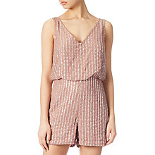 Buy Adrianna Papell Beaded Playsuit, Rose Gold Online at johnlewis.com